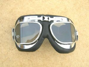"Flying Goggles, Chrome & Leather Trim, ""Fighter-Pilot"", Classic Bike Use"